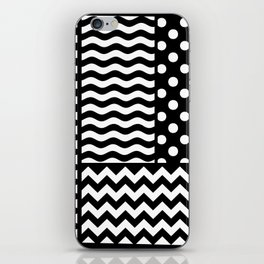 Mixed Patterns (Horizontal Stripes/Polka Dots/Wavy Stripes/Chevron/Checker) iPhone Skin