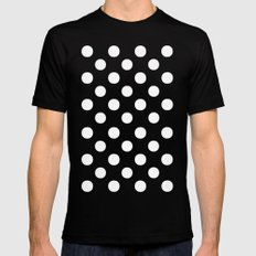 Polka Dots (White/Aqua Cyan) Black Mens Fitted Tee LARGE