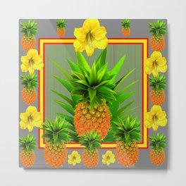 HAWAIIAN FLORAL GREY COLOR PINEAPPLE ART Metal Print