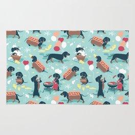 Hot dogs and lemonade // aqua background navy dachshunds Rug