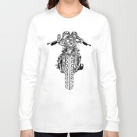cafe racer Long Sleeve T-shirts featuring Cafe Racer front view by Paul McCreery