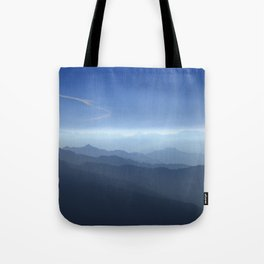 Blue dreams. Misty mountains Tote Bag