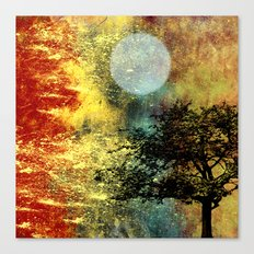 Moon and Tree Abstract with Red, Gold, Blue Canvas Print