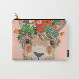 Llama with Flower Crown by Mia Charro Carry-All Pouch