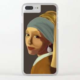 Wearing her Sister's Pearl Earring Clear iPhone Case