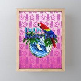Pink Tiki Island Time Surfing Framed Mini Art Print