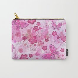 Pink Butterfly Garden Carry-All Pouch