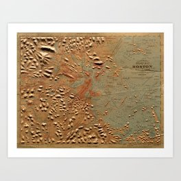 Vintage Relief Map of Boston MA (1874) Art Print