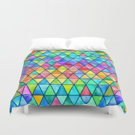Little Rainbow Watercolor Triangles on Teal Duvet Cover
