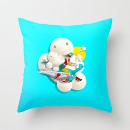 Time bunny girl and clouds Throw Pillow