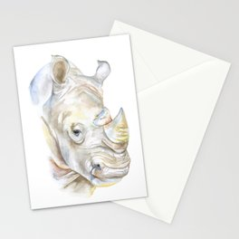 Rhino Watercolor Stationery Cards