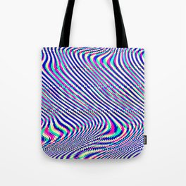 Glitch universe background. Old TV screen error. Tote Bag