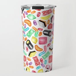 Rainbow Diet - a colorful assortment of hand-drawn candy on white Travel Mug
