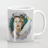 jennifer lawrence Mugs featuring Jennifer Lawrence - Colored pencil drawing by Dibujados