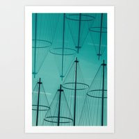 lines and poles in green Art Print