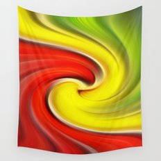 Twirl Red Green Gold Wall Tapestry