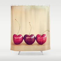 hearts Shower Curtains featuring hearts by shannonblue