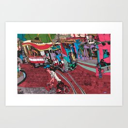 Street Car in Hanoi Art Print