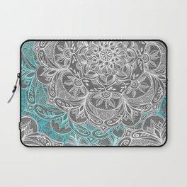 Turquoise & White Mandalas on Grey Laptop Sleeve