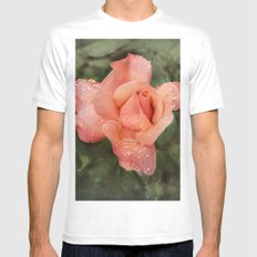 The Vintage Rose White Mens Fitted Tee MEDIUM