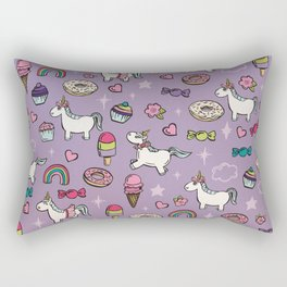 Purple Unicorns & Sweet Daydreams, Little Girls Decor, Bright, Sweets Rectangular Pillow