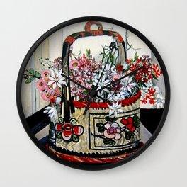 """""""Basket of Flannel Flowers"""" by Margaret Preston Wall Clock"""