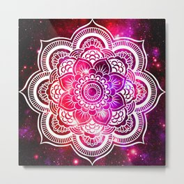 Galaxy Mandala Red Fuchsia Purple Pink Metal Print