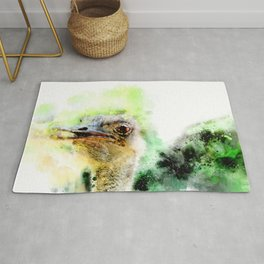 Ostrich in watercolor Rug