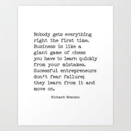 Successful entrepreneurs - Richard Branson quote Art Print