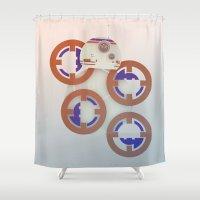 starwars Shower Curtains featuring StarWars BB8 by Joshua A. Biron