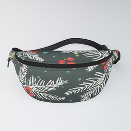 Christmas Holiday Snowy Pine Tree Branches & Holly Pattern Fanny Pack