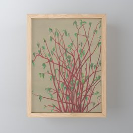 Red twigs Framed Mini Art Print