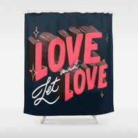 lesbian Shower Curtains featuring Love & Let Love by Jillian Adel