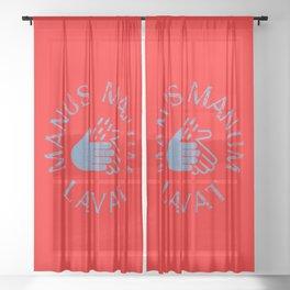 Manus Manum Lavat Blue II - Wash your Hands Sheer Curtain