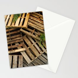 Wood Crate Paneling Pattern Stationery Cards