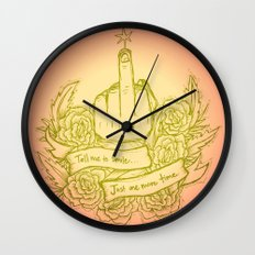 Tell Me to Smile - pink, yellow, green, gold, peach Wall Clock
