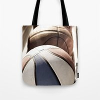 basketball Tote Bags featuring Basketball by SShaw Photographic