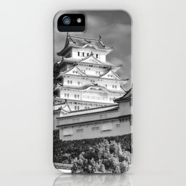 Himeji Castle Keep Tower in black and white iPhone Case