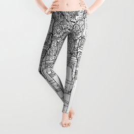 Alhambra palace, Granada, Andalucia - Spain-Black & White Leggings
