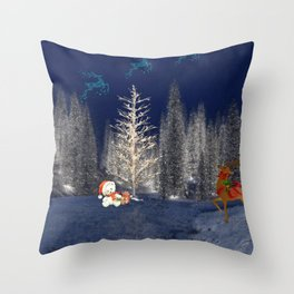 Magical Reindeer Christmas Forest Throw Pillow