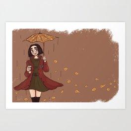 Girl runs on coffee Art Print