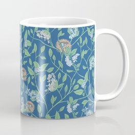 Branches with flowers and bird nests on blue background Coffee Mug