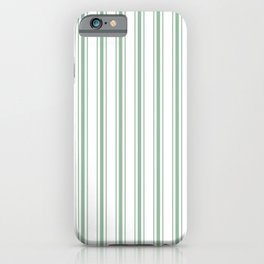 Mattress Ticking Wide Striped Pattern in Moss Green and White iPhone Case