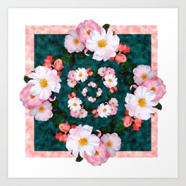 Bordered pink and white blossoms Art Print