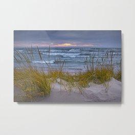 Lake Michigan Dune with Beach Grass at Sunset Metal Print