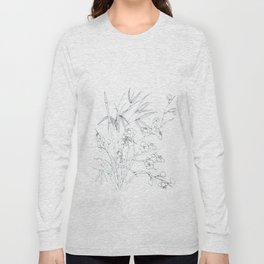 bamboo and plum flower white on blue Long Sleeve T-shirt