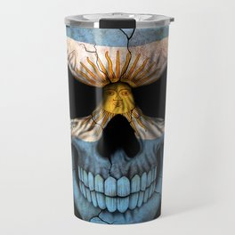 Dark Skull with Flag of Argentina Travel Mug