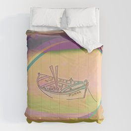 Anchored little boat called Mundo Comforters