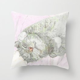 Blissful Kitty Throw Pillow