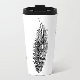 Feather Trio | Black and White Metal Travel Mug